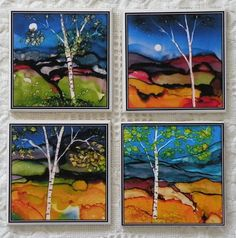 Decoupage print of alcohol ink tiles- Set of 4 Coasters- - Birch Tree - Alcohol Inks
