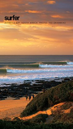 Sunset falls over Jeffery's Bay South Africa. Photo by Surfer Mag Places Around The World, Around The Worlds, Surfer Magazine, Surf Style, Surfs, Africa Travel, Bali Travel, Hawaii Travel, Wonders Of The World