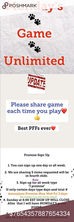 Mon Unlimited Share Game CLOSED Honor Game thank you for signing up. 👍  can start 9:00AM EST and have to midnight EST to do your shares. We will be sharing 5 items each. Be sure to read the request I will be changing it daily! The Unlimited and 50K will never be the same Request.  Let's have fun we can chat so if you get lost reading between conversation always refer to the very first comment where I will have HONOR LIST with these 👍👍👍👍👍👍👍👍👍👍👍👍👍list will also be in last photo👍…