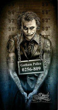 The Joker, Gotham City Police mugshot by Marcus Jones Horror Art, Joker Artwork, Tattoos, Batman Wallpaper, Movie Art, Batman Joker, Dark Disney