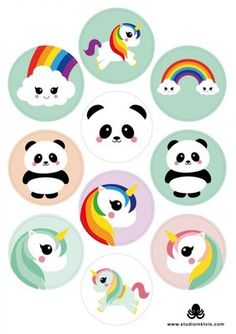A5 Round Stickersheet | Mix Unicorns Panda Rainbow Unicorn Stickers, Kawaii Stickers, Cool Stickers, Printable Stickers, All About Me Printable, Diy And Crafts, Paper Crafts, Tumblr Stickers, Stationery Shop