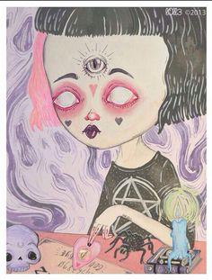 Imagen de black hair, dark, and star Graphic Design Illustration, Illustration Art, Illustrations, Arte Lowbrow, Pastel Goth Art, Emo Art, Funky Art, Creepy Art, Psychedelic Art