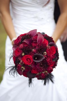 Bouquet similar to this but with red asiatic lilies, white calla lilies, and deep purple flowers...paired with beige bridesmaid dresses