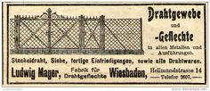 Original-Werbung/ Anzeige 1910 - DRAHTGEWEBE / LUDWIG MAGER - WIESBADEN - ca. 90 x 40 mm