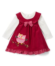 Young Hearts White Bodysuit & Burgundy Owl Jumper - Infant, Toddler & Girls | zulily