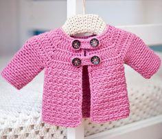 Buttoned Jacket, crochet pattern, baby jacket, monpetitviolon