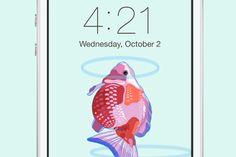 Original Golden Fish Wallpaper design by Little Lu.  Buy it in here: https://creativemarket.com/littlelu/27753-Original-Golden-Fish-Wallpaper