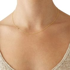 Maya Brenner Asymmetrical Initial Necklace, Solid 14k Gold