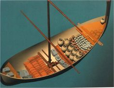 Reconstruction of the Uluburun shipwreck. Traveling from Cyprus or Syria to the Aegean this ship sunk off the coast of Anatolia around 1,305 BCE. It contained hundreds of glass, copper and tin ingots, which were its primary trade item.