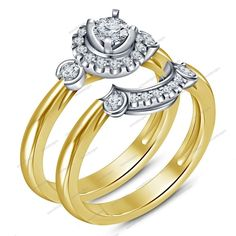 1.20 CT Round D/VVS1 Diamond  925 Silver Solitaire Disney Style Bridal Ring Set #aonedesigns