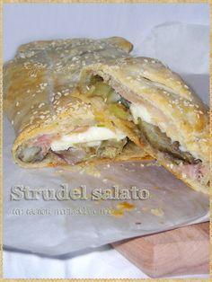 Strudel salato con carciofi, mortadella e brie (Savory strudel with artichokes, mortadella and brie)