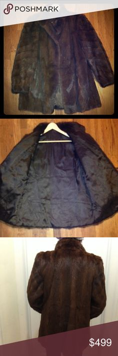 """Gorgeous Brown Mink Coat Beautiful authentic Mink coat has been conditioned & furrier kept.  (all female full pelts) in excellent condition. 3 hook & eyes The coat reads Size 44. (Model is 5'6"""" wore size 6-8 in clothes & about 130-140lbs)  There are no rips,holes, stains, and no signs of wear on fur. NO monogram BUT the lining need to be fixed/replaced. Measurements: underarm to wrist 16in, shoulder to wrist   24in, top to bottom 34in,  Under arm to underarm 21 inches across the chest. A…"""