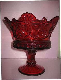 "vintage red  depression glass punch bowl    Fostoria Navarre Crown 9"" ftd Ruby Bowl"