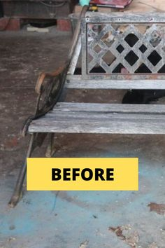 Check out this vintage outdoor bench DIY project. Perfect if you're looking for creative and original seating for your patio or backyard. this garden furniture idea makes for decorating on a budget easy. Pallet Patio Furniture, Garden Furniture, Types Of Furniture, Furniture Making, Furniture Refinishing, Rustic Outdoor Decor, Rustic Patio, Diy Patio, Backyard Patio