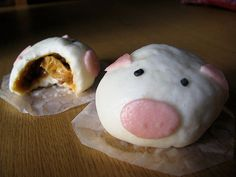 These are pork buns made to look like little piggies. Too cute!