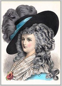 Baroque period 17th century. Coiffure Louis XIV.