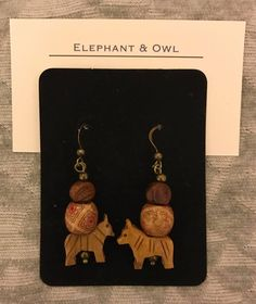 Wild Horses!  Carved horse, wood, and metal earrings.  $15.00, US shipping included.  International shipping is calculated and may take up to 21 days to arrive.  Paypal is preferred; M.O. and personal check accepted.  Please message me for other payment options.  Thank you! Wild Horses, 21 Days, Elephant, Owl, Carving, Drop Earrings, Facebook, Metal, Check
