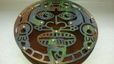 laser cut metal wall art, aztec mask,patina,handcraft