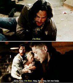 "Sam ""I'm fine"" Winchester and Dean ""let me fix it"" Winchester 11x17"