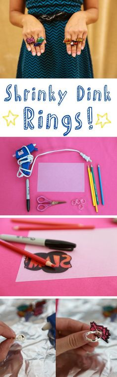 Remember making Shrinky Dinks as a kid? They are the plastic sheets that you can color and cut out and magically watch as they shrivel up and shrink down in the oven. You and the kids will love making these rings! www.ehow.com/...