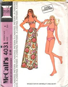 McCalls  4031 1970s  Misses Wrap Skirt and Bikini Pattern by mbchills 70s vintage sewing pattern