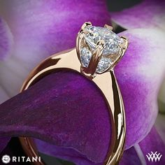 18k Rose Gold Ritani Setting Solitaire Engagement Ring. It features a gorgeous 6-prong head that holds microset Round Brilliant Diamond Melee (0.20ctw G/H VS)