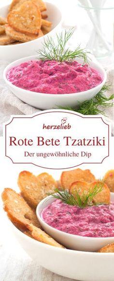 Rezept Tzatziki Dip - mit Rote Bete Tzatziki bringt ihr Farbe auf den Tisch! Ein ganz anderer Geschmack und dazu gibt es selbstgemachte Brotchips bei herzelieb.