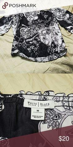 White House Black Market dress top Size M 100% silk Super cute with white pants! White House Black Market Tops Blouses