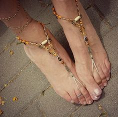 Happy feet macrame barefoot sandals hippie bohemian shoes beaded anklets orange surprise - tagt team