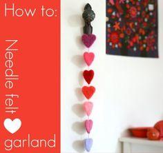 How to Make a Needle Felt Heart Garland #needlefelt #garland