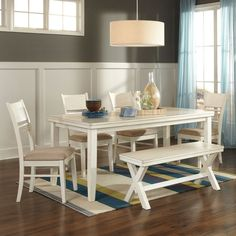 This dining set is farmhouse chic! (Also available in 7 Piece Set. Matching Server also available.) Arrowtown 6 Pc. Dining Set | Weekends Only Furniture and Mattress