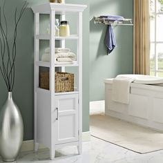 Three open shelves and one cabinet provide a fashionable storage option without sacrificing your bathroom space. This Wyndenhall bath storage tower is finished with a beautiful white lacquer that adds a bright, clean look to your bathroom decor. Linen Cabinets, Bathroom Cabinets, Bathroom Furniture, Furniture Decor, Cabinet Shelving, Storage Cabinets, Open Shelving, Storage Shelves, Closet Storage