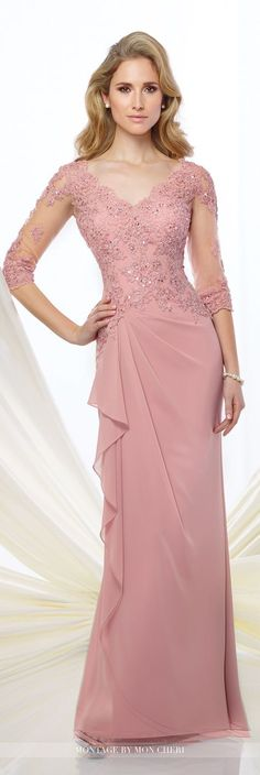 Formal Evening Gowns by Mon Cheri - Fall 2016 - Style No. 216965 - chiffon evening gown with illusion lace sleeves
