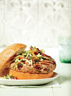 Herb and Cranberry Turkey Burger With Caraway Coleslaw