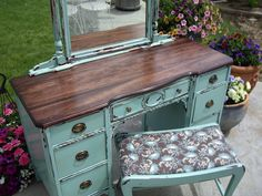 """VIA: BRUSH OF WHIMSY - Chippy Aqua Vanity - """"I saw this vanity set on CL, and it reminded me of pieces done by one of my absolute favorites, European Paint Finishes"""" Distressed Furniture, Repurposed Furniture, Shabby Chic Furniture, Painted Furniture, Turquoise Furniture, Distressed Wood, Vintage Furniture, Furniture Projects, Furniture Makeover"""