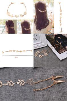 [Visit to Buy] Women Lady Fashion Rhinestone Chain Headband Hair Band Leaf Hair Clip Jewelry #Advertisement