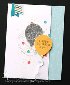 Stampin' Up Party Pants, Stencils, Metallic Glitter Tape, Cherry on Top DSP by #RunningwScissorsStamper