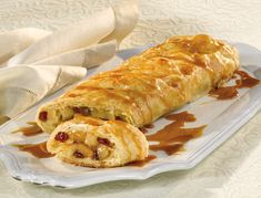 Pear & Cranberry Strudel with Caramel Sauce