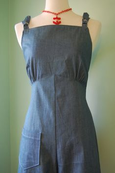 1940s 40s vintage style denim overalls custom made S M