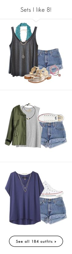 """Sets I like 8!"" by sportinggirl00 ❤ liked on Polyvore featuring Free People, American Vintage, Jack Rogers, GUESS, Kendra Scott, RVCA, Converse, Chicwish, rag & bone and House of Harlow 1960"