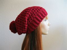 Crocheted Slouchy Beanie Hat Ruby Red Fall Hat  by yarnmeditations