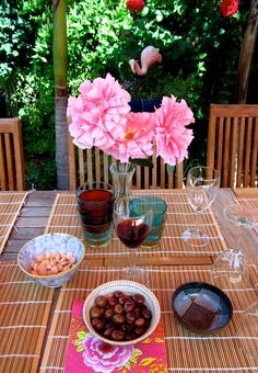 Sunday afternoon, backyard table before guests landing