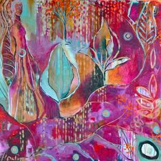 """""""Brave Intuitive You"""" being taught by Flora Bowley is proving to be an fun and freeing creative process and approach to my painting. I love the playfulness of her pieces and the vibrancy.    via florabowley.com"""