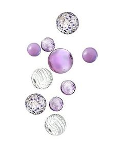 Set of 10 Glass Wall Spheres, Lavender