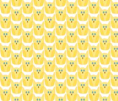Yellow Owl fabric by kreativeperle on Spoonflower - custom fabric