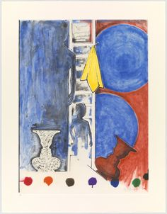 #JasperJohns. Untitled. 2011, aquatint, Jasper Johns created this ULAE aquatint with painterly fields of color. Jasper Johns has built this stunning composition in multiple sections, each populated by elements often seen in other Johns works: a child's silhouette; faces on a vase; a ladder; rotating discs and spots of color. In addition, a yellow cloth/handkerchief is nailed to the ladder's upper rung as an homage to #PabloPicasso, The Weeping Woman, I, 1937.