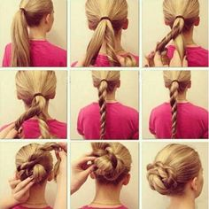 This is a fun and easy twisted bun to do for school, work, or you can even match it with an elegant dress for your special event. Wrap your hair into a ponytail such as indicated in the first picture and then separate the ponytail into two parts. After you do that, add some hairspray…