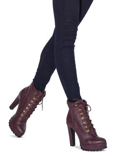 Burgundy booties