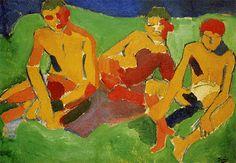 André Derain(1880ー1954)「Trois personnages assis dans l'herbe」