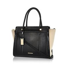 97d9a86108 Black shearling panel winged tote bag  90.00 Shopper Tote